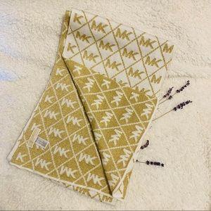 Michael Kors MK Argyle Reversible Gold White Scarf